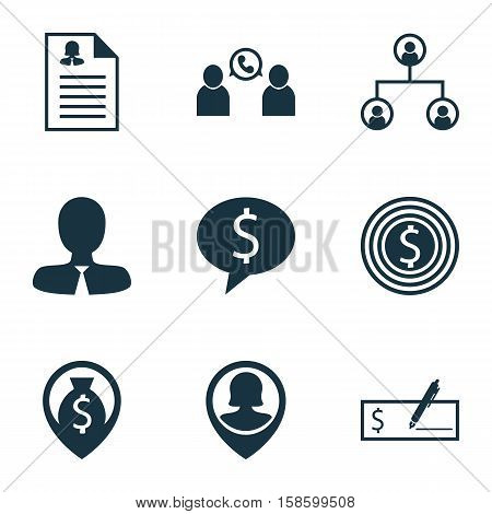 Set Of Management Icons On Business Goal, Female Application And Tree Structure Topics. Editable Vector Illustration. Includes Tree, Employee, Discussion And More Vector Icons.