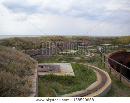The ramparts of Fort Massachusetts, West Ship Island, Mississippi, Gulf Islands National Seashore, Gulf of Mexico.