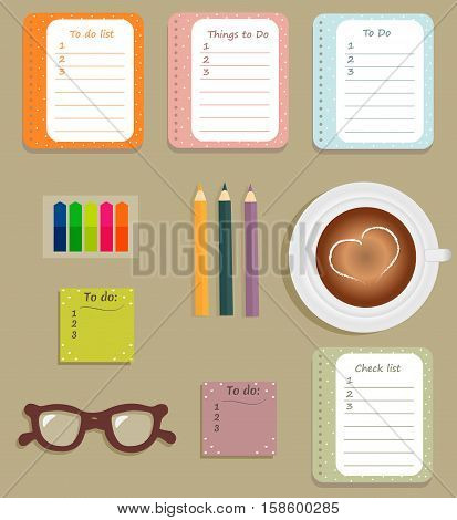 Stationery: The sheets of the planner in a cute polka dots. To Do Lists with little hearts. Multi-colored stiсkers. Cup with coffee on saucer. Brown glasses. Vector illustration.