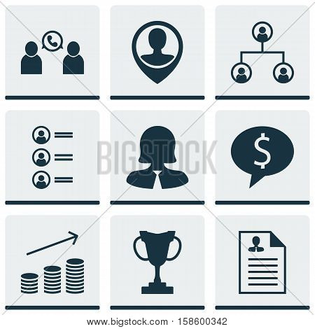 Set Of Human Resources Icons On Curriculum Vitae, Tournament And Coins Growth Topics. Editable Vector Illustration. Includes Male, User, Prize And More Vector Icons.
