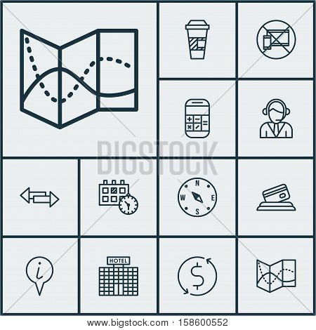 Set Of Airport Icons On Forbidden Mobile, Hotel Construction And Takeaway Coffee Topics. Editable Vector Illustration. Includes Hotel, Compass, Calculator And More Vector Icons.