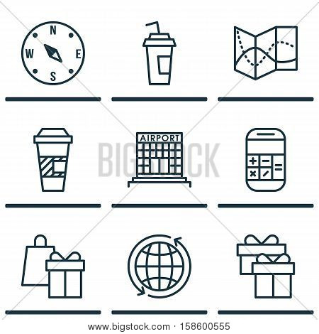 Set Of Traveling Icons On Airport Construction, Present And World Topics. Editable Vector Illustration. Includes Takeaway, Shopping, Cup And More Vector Icons.