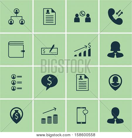 Set Of Human Resources Icons On Messaging, Manager And Cellular Data Topics. Editable Vector Illustration. Includes Career, Female, Cellular And More Vector Icons.