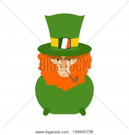 Leprechaun With Red Beard In Pot. St. Patricks Day Character. Irish Holiday