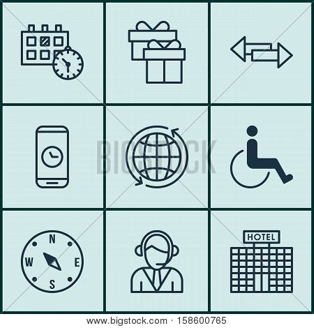 Set Of Traveling Icons On Accessibility, Call Duration And Appointment Topics. Editable Vector Illustration. Includes Calendar, Around, Accessibility And More Vector Icons.