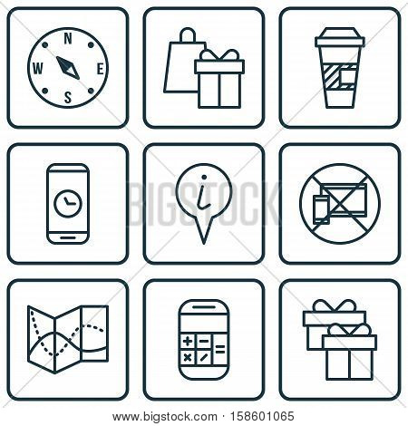 Set Of Airport Icons On Forbidden Mobile, Call Duration And Road Map Topics. Editable Vector Illustration. Includes Math, Shopping, Cup And More Vector Icons.