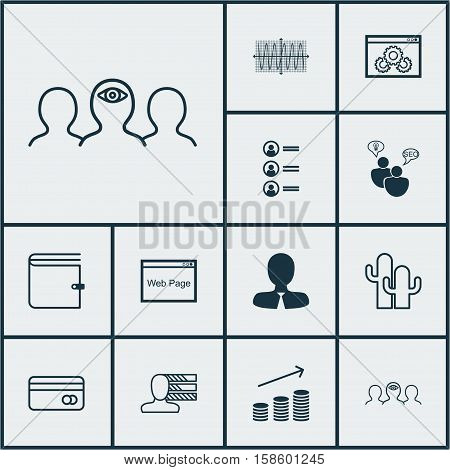 Set Of 12 Universal Editable Icons. Can Be Used For Web, Mobile And App Design. Includes Icons Such As Wallet, Cacti, Coaching And More.