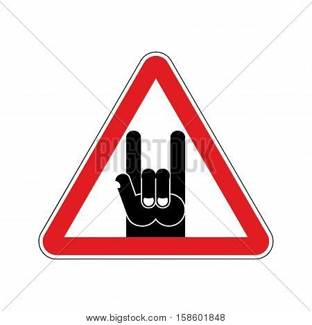 Attention Rock Music. Warning Rock Hand Symbol. Danger Road Sign Red Triangle