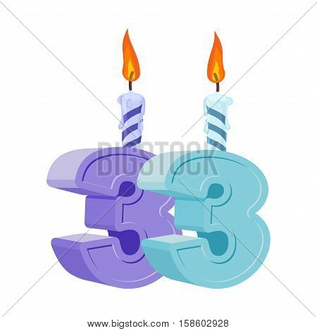 33 Years Birthday. Number With Festive Candle For Holiday Cake. Thirty Three Anniversary