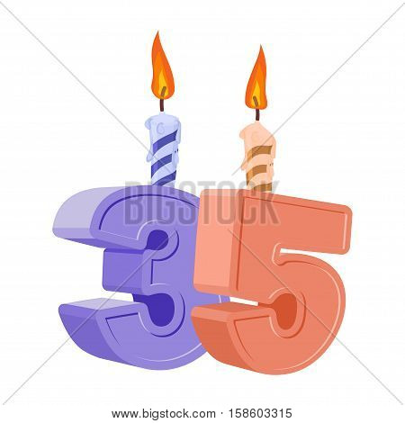 35 Years Birthday. Number With Festive Candle For Holiday Cake. Thirty Five Anniversary