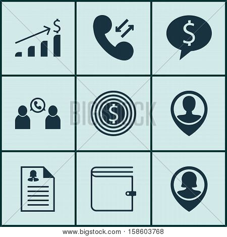 Set Of Hr Icons On Employee Location, Cellular Data And Phone Conference Topics. Editable Vector Illustration. Includes Resume, User, Application And More Vector Icons.
