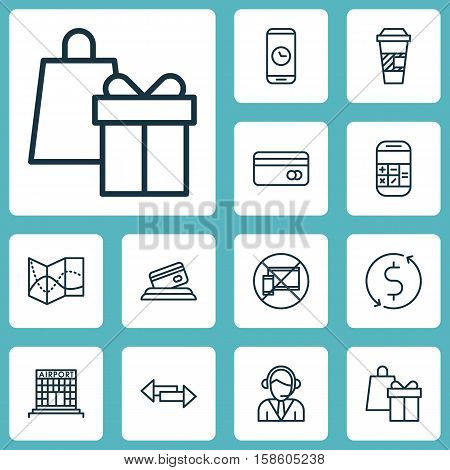 Set Of Transportation Icons On Calculation, Airport Construction And Crossroad Topics. Editable Vector Illustration. Includes Device, Credit, Mobile And More Vector Icons.