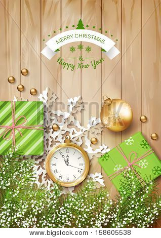 Christmas vector top view background with a clock, fir twigs, gifts, Christmas balls on wooden table