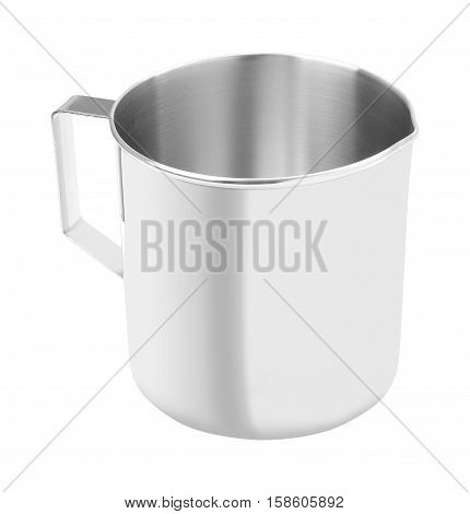 Upper open stainless gutter cup with handle on white background.