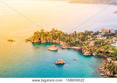 Areal view of Cefalu, Italy beautiful photo of sicilian coastline. Colorful travel background.