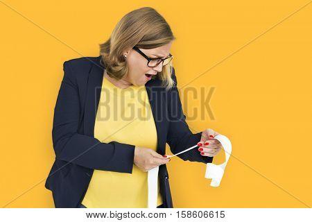 Businesswoman Surprise Stun Shock Payment Bill