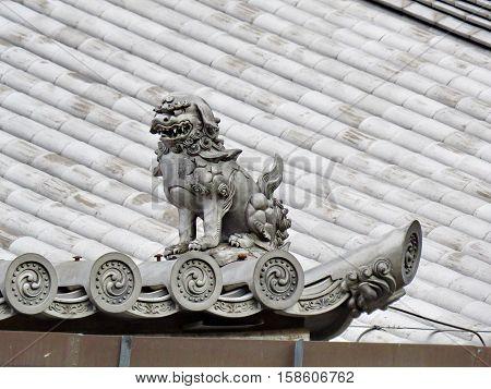 Shisa Or Shishi ,japanese Male Lion's Shut Image For Prevent Bad .