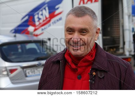 Moscow Russia - Apr 18 2015: Head of Department of Physical Fitness and Sports Moscomsport Alexey Vorobyov during Rally Masters Show 2015 at Krylatskoye District.