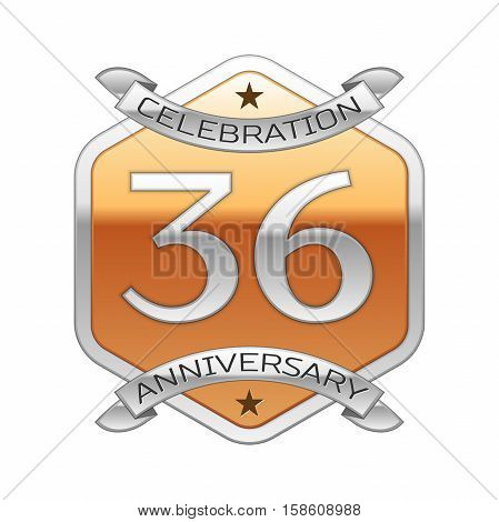 Thirty six years anniversary celebration silver logo with silver ribbon and golden hexagonal ornament on white background.