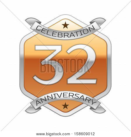 Thirty two years anniversary celebration silver logo with silver ribbon and golden hexagonal ornament on white background.