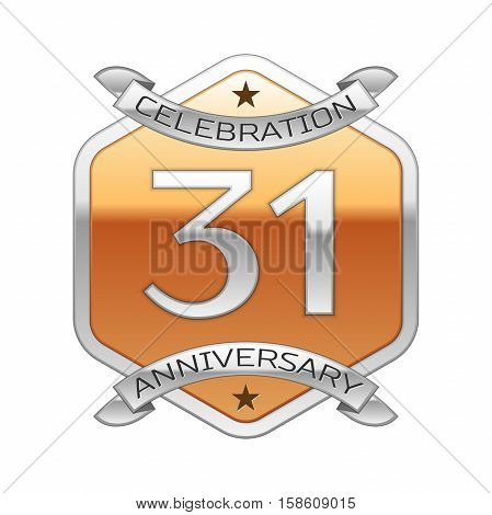 Thirty one years anniversary celebration silver logo with silver ribbon and golden hexagonal ornament on white background.