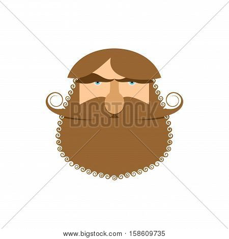 Hipster Face Isolated. Beard And Mustache. Head Bearded Man