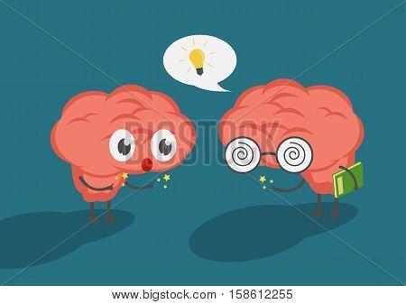 vector cartoon intelligent brain hold book presented idea to friend. Friend listen and think