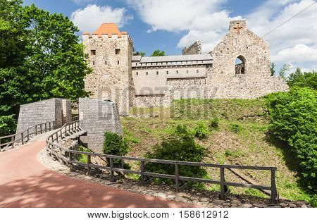 Gothic Sigulda Old Castle from the 13th century in Latvia