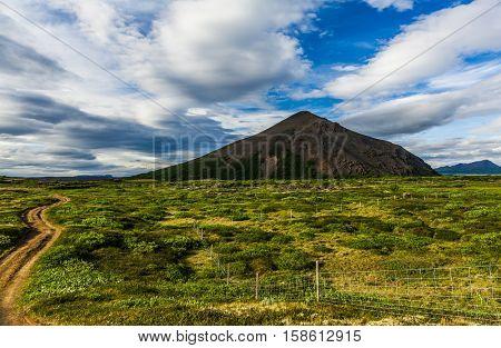 Road leading to Vindbelgur, volcano near the lake Myvatn - northern Iceland