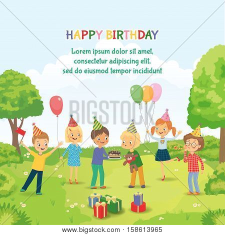 Cute boy celebrating birthday with her friends in the park. Group of happy children congratulates his friend on his birthday. Cute boy blowing on candles on birthday cake after making his wish at party