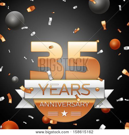 Thirty five years anniversary celebration background with silver ribbon confetti and circles. Anniversary ribbon. Vector illustration.