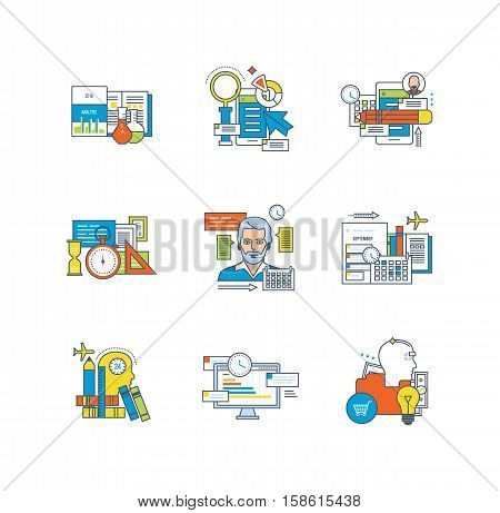 Support, education, research, planning, time management, marketing, communications, creative, business processes icons set over white background. Flat line icons for infographics design elements.
