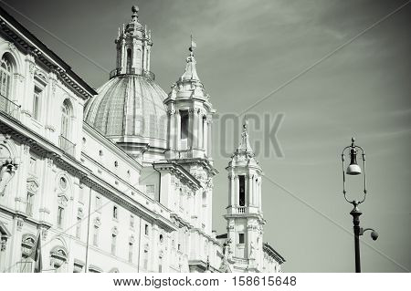 Saint Agnese in Agone with Egypts obelisk in Piazza Navona Rome Italy