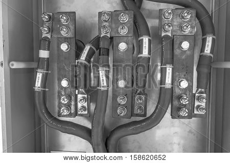 metal, ground, electrical, background, isolated, wires, junction, green, technology, line, equipment, power, energy, construction, industry, high, industrial, danger, connection, bar, electric, electricity, wire, cable, supply, electrician, john, insulati