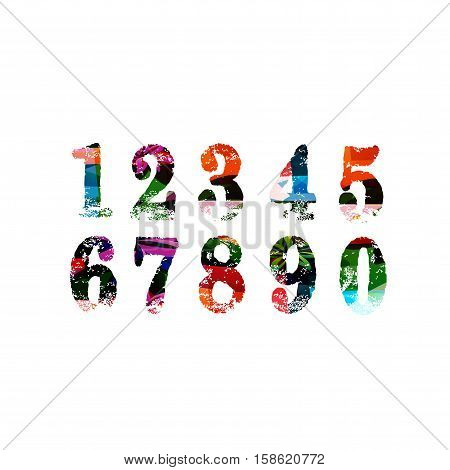 Colorful numbers set vector illustration. Custom design numbers isolated. Number font template