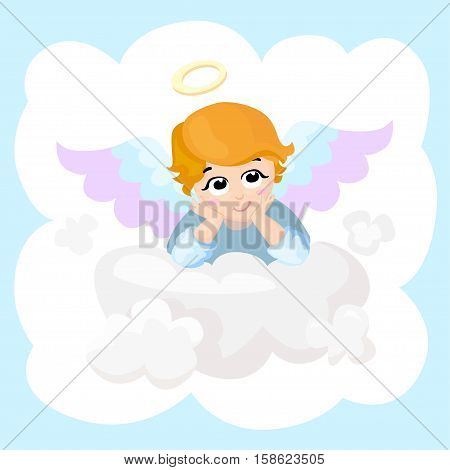 Baby angel vector cartoon character. Angel wings on a cloud. Greeting card. Cupid lying on a cloud isolated illustration. Eps 10.