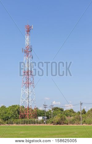 The telecommunication tower located in countryside communication concept.