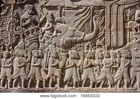 Carving on temple wall - Angkor - Cambodia