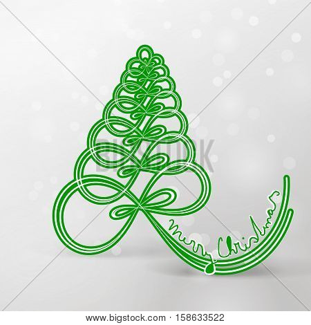 Christmas art green tree tied a ribbon