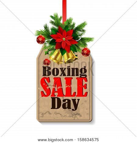 Boxing day sale tag with evergreen trees with christmas bells isolated on white