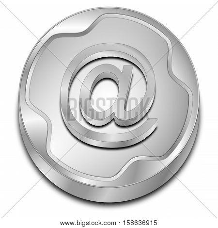 decorative silver E-Mail Button - 3D illustration
