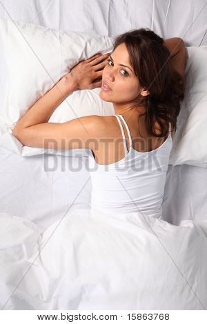Woman ready for her beauty sleep