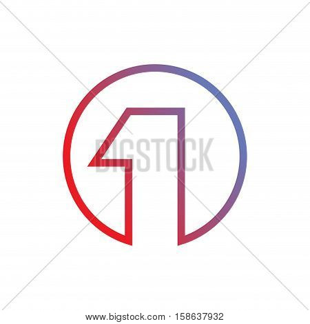 1 Logo. Number One Emblem. Abstract Corporate Sign Design Template
