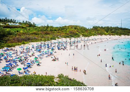 A scenic view of Horseshoe Bay Beach in Southampton Parish Bermuda.