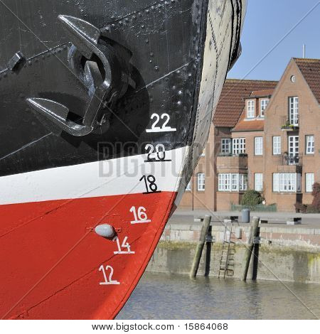 Closeup of old ship's waterline markings