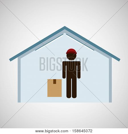 silhouette worker box service vector illustration eps 10