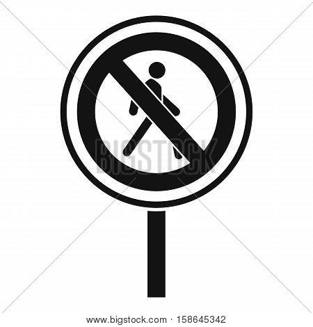 No pedestrian sign icon. Simple illustration of no pedestrian sign vector icon for web