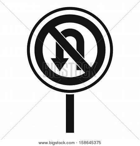 No U turn road sign icon. Simple illustration of no U turn road sign vector icon for web