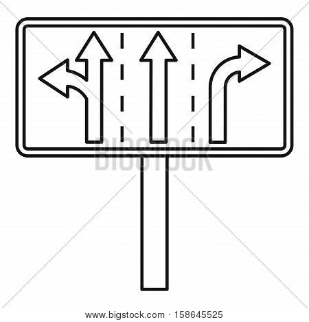 Traffic lanes at crossroads junction icon. Outline illustration of traffic lanes at crossroads junction vector icon for web