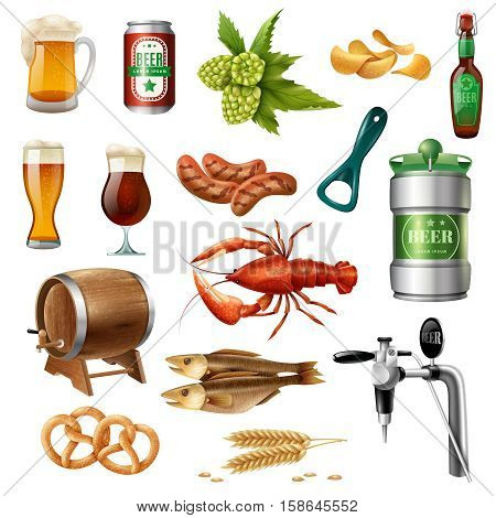 Oktoberfest beer snacks and accessories colorful icons collection with oak barrel lobster and pretzels isolated vector illustration